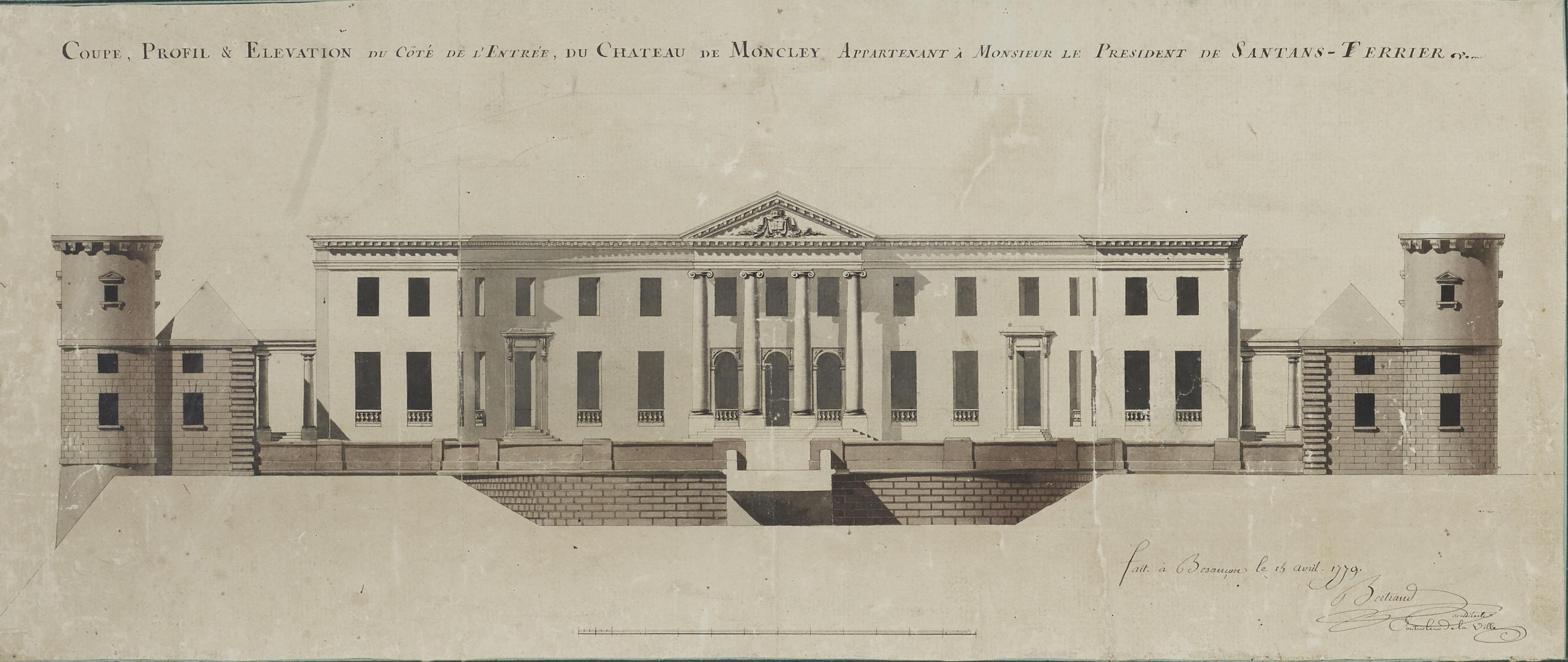 Plan d'architecte pour le Château de Moncley